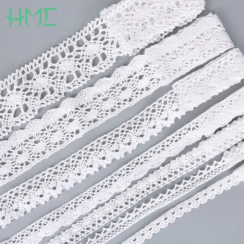 New 5 Yards White Black Ivory Knitting Cotton Lace Ribbon Handmade Patchwork Scrapbook Craft for DIY Apparel Sewing Accessories