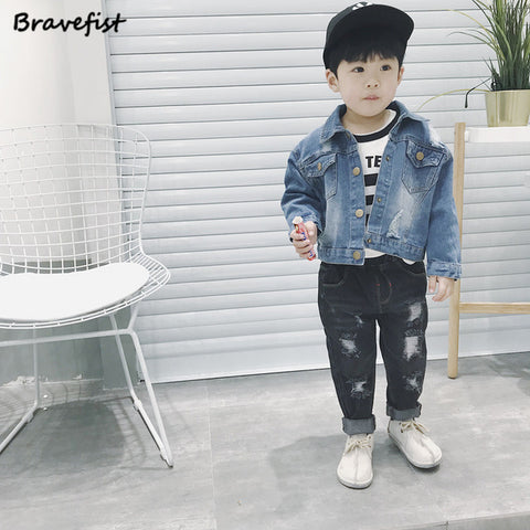 Autumn Cotton Baby Boys Girls Denim Jacket Leisure Newborn Coat Kids Jeans Infant Girls Jeans Jackets Baby Jacket Cardigan Coat