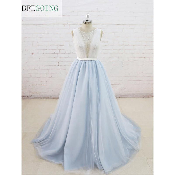 A-line Tulle  Scoop Sleeveless Wedding Dress V-Back  Floor-Length Court Train  Real/Original Photos Custom made