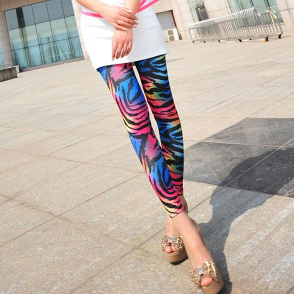 Fashion Women's Sex Lady Pants New 2016 Neon Leopard Striped High Spandex Sexy Leggings Pencil Pants For Women