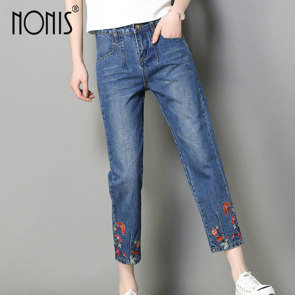Nonis Embroideried Jeans wide leg loose pant For Women Plus Size Mid Waist Flower Blue Denim Pants Casual Trousers