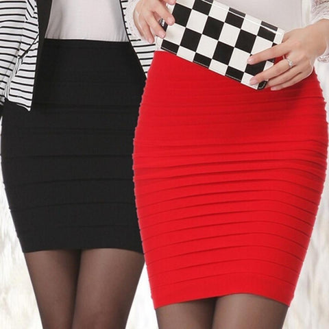 JAYCOSIN Autumn Womens Elastic Pleated High Waist Package Hip Short Skirt bodycon short skirts t38