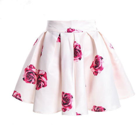 Vintage Blossom Floral Print Ball Gown Pleated Skater Skirt Women Short Skirts Casual Beach Pleated Skirt Saia