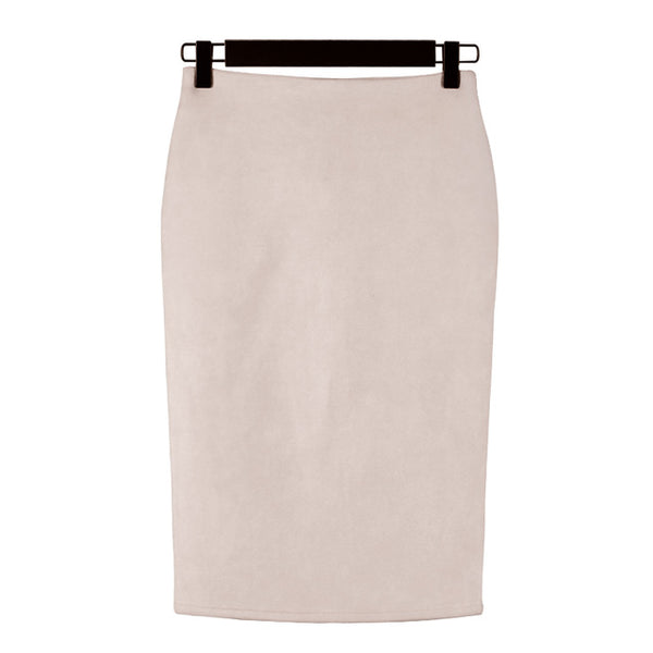 High Street 2018 Women Suede Multi Color Pencil Midi Skirt Female Spring Summer Basic Tube Bodycon Skirts Saia
