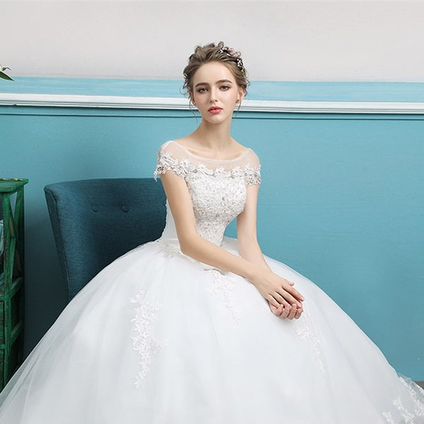 ruthshen Beadings Scalloped Neck Vestidos De Novias Baratos 2018 Wedding Dresses Appliques Bridal Gowns Robe De Mariage Cheap