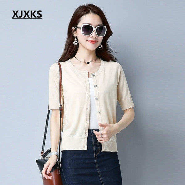 XJXKS Summer Women O-Neck Knitted Casual Short Sleeve Cardigans Sweaters Lady Knitting Shrugs Shawl Outwear Thin Sweater