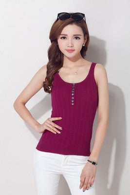 Summer new Cashmere Camisole Small female Korean Female models Slim Sleeveless Short paragraph bottoming Knit Sweater