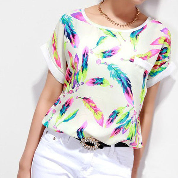 Fashion Chiffon Blouse Multi-Layers Flounce Tiered  Chiffon Blouse Casual Short Sleeve Loose Shirt