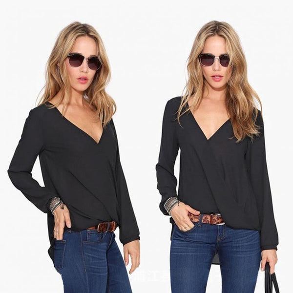 Blusas Femininas 2018 New Women V Neck Solid Chiffon Blouse Sexy lady Long Sleeve Blous Fashion Blouses Shirt 4 Colors Tops
