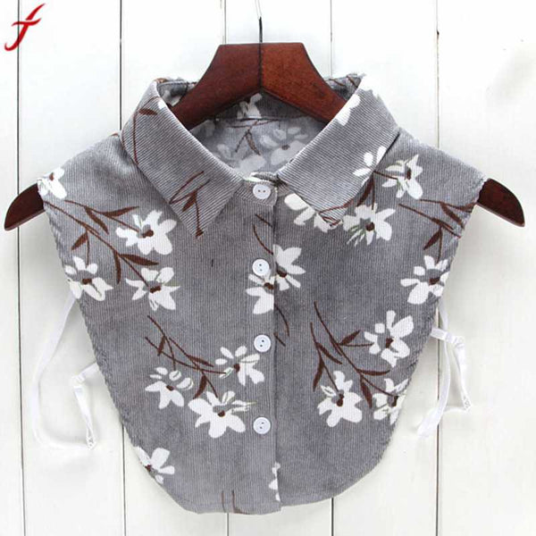 2018 Women New Print Floral Blouse Fake Collars for Women Men Turn Down Collar Shirt Detachable Collars Clothes Tops camisa