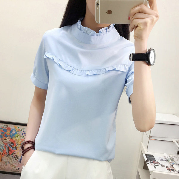 2018 New Hot Women Blouse White Shirt Top Femme Casual Stand Long Sleeve OL Work Sliod Blouses Women's Blusa Shirts