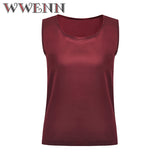 WWENN Casual Tops Summer Silk Blouse Women Shirt Sleeveless O-Neck Blouse Casual Shirt Office Tops Blusas Camicetta donna