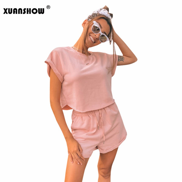 XUANSHOW Women Outfits Summer Casual Cotton Pink Solid Short Sleeve Crop Tops and Short Pants Two Set Ladies Sexy Tracksuit S-XL