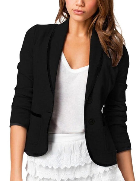 MISSKY Fashion Women Slim Design All-match Leisure Blazer Bussines Suit Solid Color Jacket