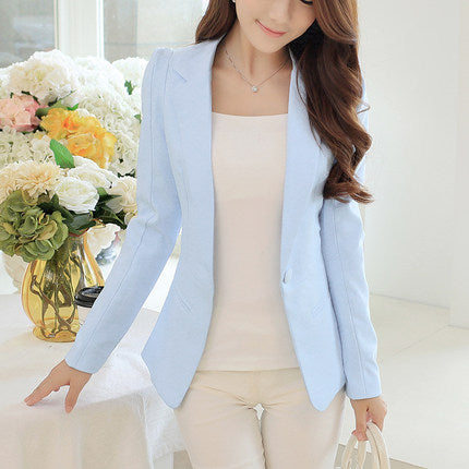 Disappearancelove Spring Women Slim Blazer Coat 2018 Plus Size Casual Jacket Long Sleeve One Button Suit Lady Blazers Work Wear