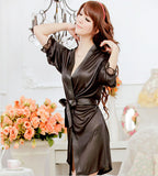1Pc Sexy Lingerie Costume for Womens Sleepwear Nightshirts Nightdress G-string Dress Bathrobe Satin Lace Robe Women Pajamas