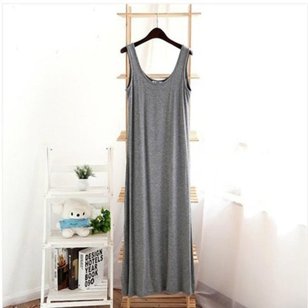 2017 New arrival Women's Dress Casual Summer Camisole Dress Modal Loose Big Size 8 Colors sleeveless O-neck dress female XT0182