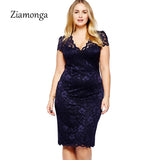 Ziamonga Summer XL XXL XXXL Plus Size Women Dresses Black V Neck Short Sleeve Formal Lace Dress Female Work Midi Office Dress