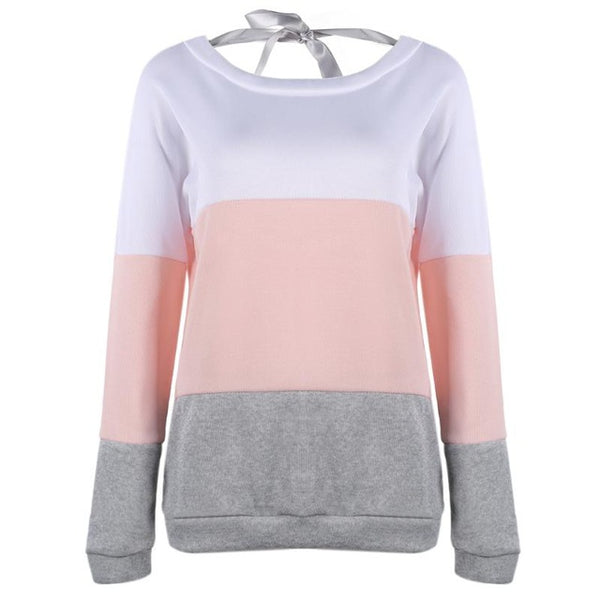 Autumn Winter Women Sweatshirt Long Sleeve Patchwork Back V Collar Lace up Tops Fashionable Candy Color Female Pullovers Tops