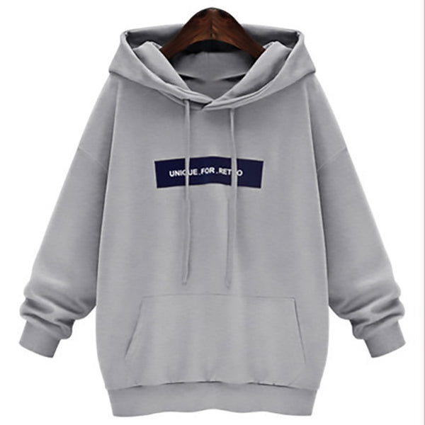 Giraffita Style Harajuku Letters Print Autumn Winter Tops Loose Outerwear Fleece Pullovers Hooded Sweatshirt Women Clothing