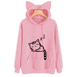 Female Women Casual Hoodies Sweatshirt Long Sleeve Hoody Cat Cute Ears Printed Hoodies Tracksuit outerwear Sweatshirt