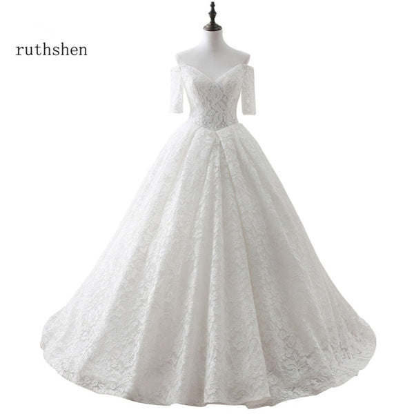 ruthshen Cheap Wedding Dresses Off Shoulder Half Sleeves Lace Ball Gown Bridal Gowns Real Photo Vestidos De Novia 2018