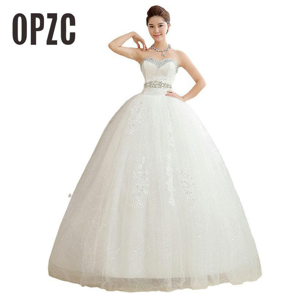 Custom Made V Neck 2017 New Arrival Korean Style White Princess Fashionable Lace Wedding Dress Tulle Wedding Dresses T203