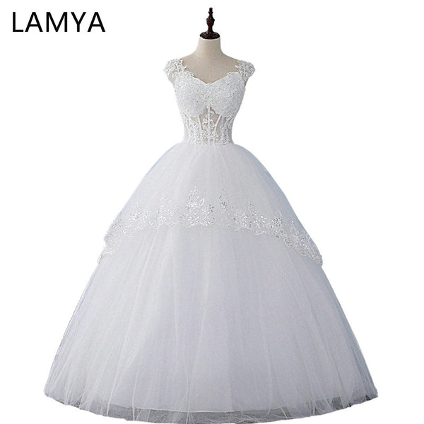 LAMYA Real Photo Sexy Wedding Dress 2018 Cheap Ball Gown Bridal Gowns Customized Plus Size Wedding Gowns Tank Vestidos Novia
