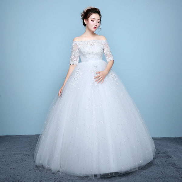 White Vestidos De Noiva 2017 Wedding Dresses New Arrival Lace Boat Neck Lace Up Ball Gown Princess Pregnant