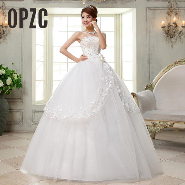 Cheap Real photo New Arrive Korean Style Wedding Dress with Crystal Wedding dress White Wedding Dress 2016 Vestido de noiva QH27