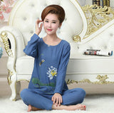 Fdfklak 2018 New Woman Pajamas Set Cotton Pijama Women Print Plus Size Spring Summer Pajama Pyjama Femme XL XXL 3XL 4XL