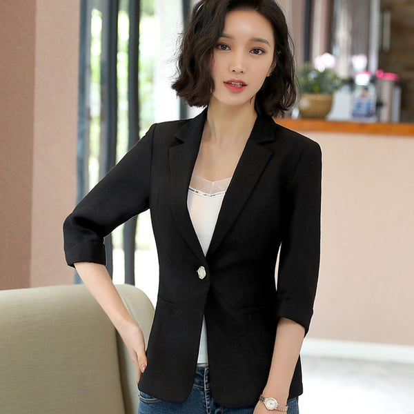 2018 Spring New blazer women fashion casual slim half sleeve white jacket office ladies plus size coat
