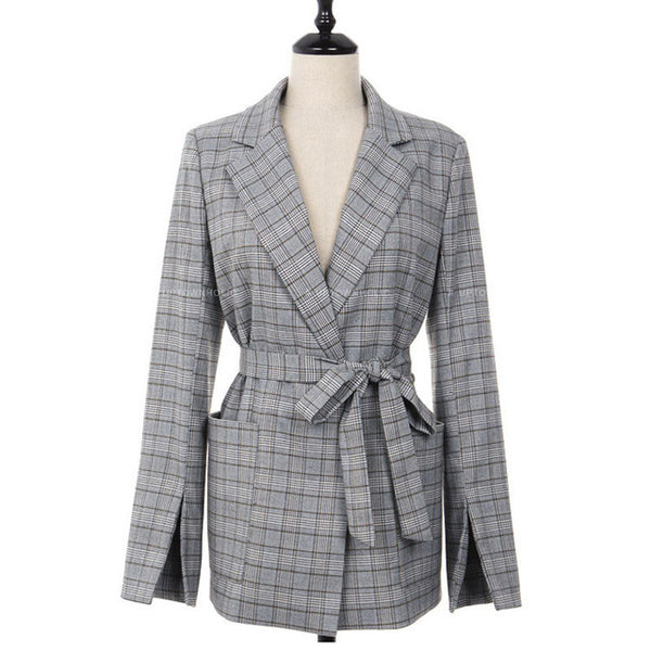 Casual Work Women Gray Plaid Office Lady Blazer Jacket Fashion Bow Sashes Split Sleeve Femme Elegant Blazers with Belt Feminino