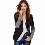 2018 Spring Autumn Winter New Fashion Coat Women Casual Elegant Office Sequined PU Patchwork Blazers Suits Outerwears Jacket