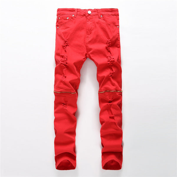 2017 New Ripped Hole Red Men's Jeans Straight Mens Cargo Denim Jeans Stretch with Zippers Male Pants Slim Motorcycle Trousers