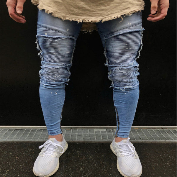 2017 New Men Stylish Ripped Jeans Biker Skinny Slim Pleated Fashion Scratched Zipper Pencil Pants Male Straight Denim Trousers