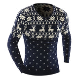 2017 Men'S Fashion Winter Animal Print Sweater Men Leisure Slim Pull Homme V-Neck Sweater Solid Sweater XXL