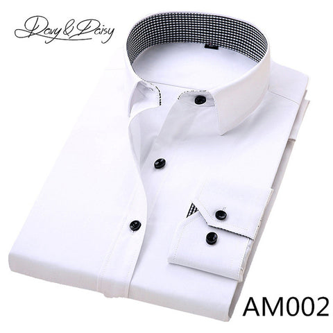 6cafec0096a ... DAVYDAISY 2018 New Spring Mens Dress Shirts Long Sleeve Social Solid  Twill Business Formal Shirt Men