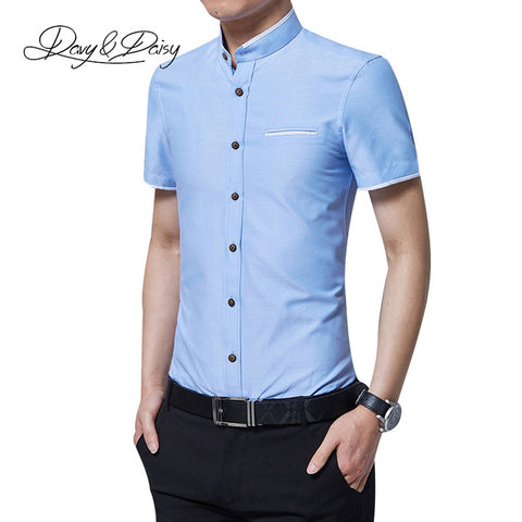 DAVYDAISY Summer Social Shirts Men Casual Mandarin Collar Short Sleeved Slim Fit Solid Dress Shirt For Men Camisas M-5XL DS-146
