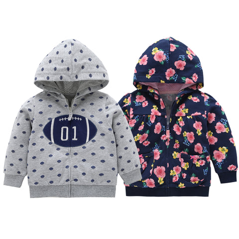 2018 Rushed New  Menino Autumn Winter Warm Baby Clothes Girls Sleeve Hoodies Boy Sweatshirt With Zipper Dot Outfits