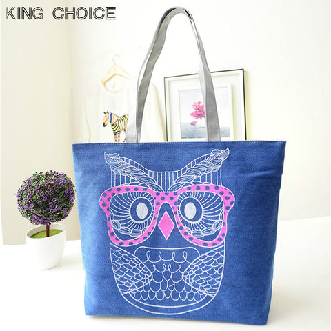 2017 Luxury Brands Fashion Lady Owl Shopping Handbag Shoulder Canvas Bag Tote Purse Hot bolsa feminina women bag