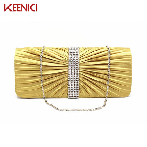 2016 Classic Women Satin Gold  Wedding Handbag Clutch Party Prom Bag Evening Bag Purse With Chain Luxury Rhinestone Shoulder Bag