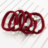 1Piece 2017 Korean Pearl Towel Ring Candy Color Ring Hair Headdress Jewelry Wholesale Cute Hair Accessories For Women headwear