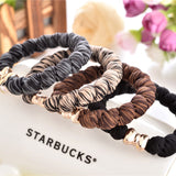1pc/lot Gold Plated Bowknot Button Big Black Elastic Ponytail Holders Hair Accessories Cute Girl Women Rubber Bands Tie Gum