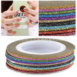 1mm 12 Color Glitter Nail Striping Line Tape Sticker Set Art Decorations DIY Tips For Polish Nail Gel  2017 New