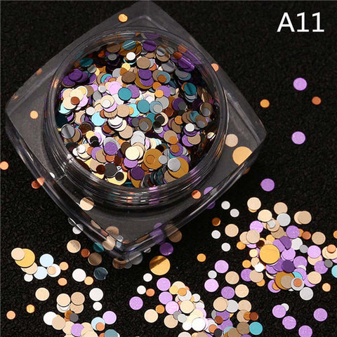 1.5g/box Hot Sale Mixed Mini Round Thin Nail Art Glitter Paillette Nail Tip Bottle Gel Polish Decoration Manicure Nail Tools