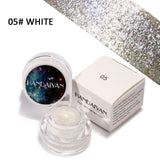 2 in 1 Eye Make Up Face Brighten Highlighter Shining Shimmer Powder Pigment White Blue Pink Eyeshadow Palette 5 Colors