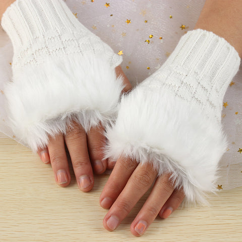 1 Pair Wool Blend Faux Rabbit Fur Women Fingerless Gloves Knitted Crochet Winter Gloves Warm Mittens Female