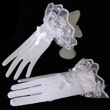 1 Pair Woman Girl Black White Color Lace Fishnet Mittens Fingered Gloves For Party Weddings