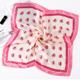 2018 Hot Sale Women Scarf Luxury Brand Pink Lips Silk Shawl Scarfs Foulard Square Headband Scarves Wraps 2017 NEW 70x70cm
